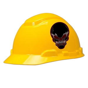 Burgundy Skull Hard Hat Helmet Sticker